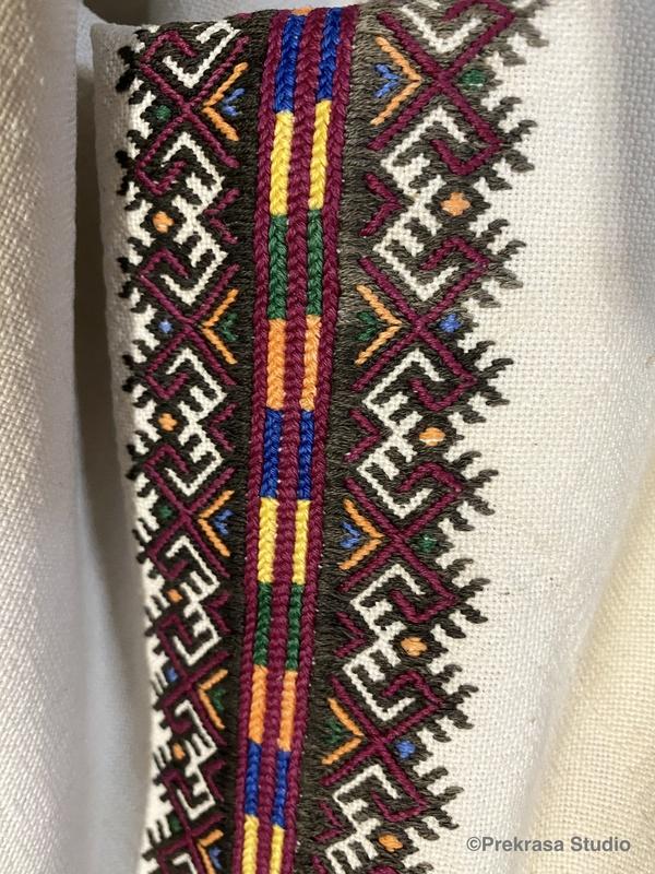 Чоловіча вишита сорочка, візерунки низинкою. Онлайн школа української вишивки Prekrasa Studio